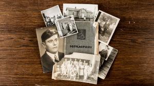 Vanhoja valokuvia mm sotilaspassista ja päähenkilöstä