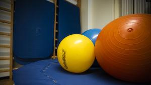 En trampolin med färggranna gymnastikbollar på.
