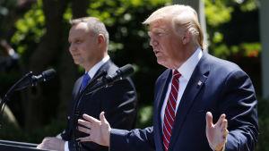 Donald Trump gav sitt löfte om truppförstärkningar då han träffade Andrzej Duda i Vita huset på tisdagen