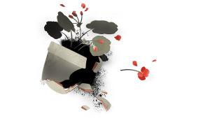 Kuvitus hajonneesta kukkaruukusta, jonka sirpaleet ja terälehdet ovat levinneet lattialle.