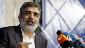 Arkivbild på Behrouz Kamalvandi, talesman för Irans atomenergimyndighet, under en presskonferens i juli 2018.