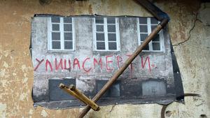 """Ulitsa smerti - """"Dödens gata"""" i Užupis i Vilnius."""