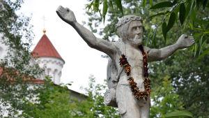 Vandringsmannen Jesus i Užupis i Vilnius.