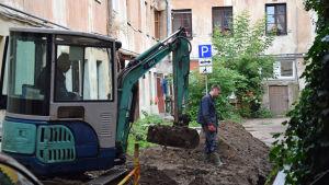 Ombyggnation i Užupis i Vilnius.