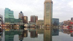 Byggnader i Baltimore speglas på spegelblankt vatten.