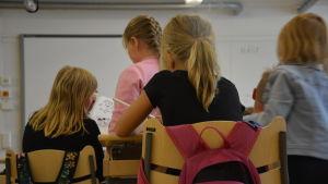 Ryggen på en handfull elever vid sina pulpeter i ett klassrum.