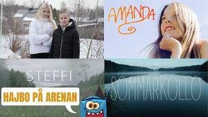 Bilder från Hajbos dramaserier; Mitt liv som Hugo Käld, Amanda, Steffi och Sommarkollo.