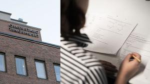 Ett kollage på två bilder, till vänster en bild på Helsingfors tingsrätts fasar. Till höger en bild på en kvinna som skriver ett prov.
