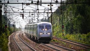 Tåg som åker längs järnvägsspår