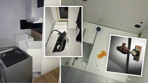 Alexandran kuvaamia yksityiskohtia asunnosta: kaapistot eivät ole paikoillaan, lattian keskellä on lavuaari, sarana on ruosteessa.