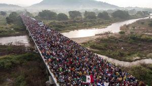 I oktober 2018 väckte en karavan med migranter från Honduras stor uppmärksamhet. Här fotograferad i Arriaga, i södra Mexiko. De flesta av dem nådde aldrig USA.