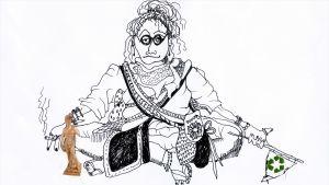 piirros jossa nainen näyttää kyllästuneeltä kierrätyslippu kädessä ja vieressä David patsas
