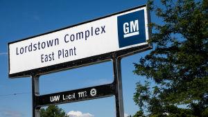 En skylt för bilfabriken Lordstown Complex.