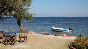 Stranden i Thermiregionen på Lesbos.