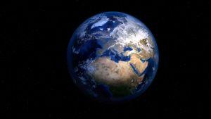 Jorden från rymden. Afrika och Euroa är synliga kontinenter.