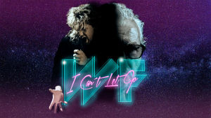 Promobild för dokumentären I can't let go om bandet Wild Force. Sångaren Christer Rönnholm på 80-talet och nu i grafisk bild med filmns logo i neon.
