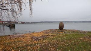 """Stenen """"Sten Rapakivi"""" på en klippa med gula höstlöv. I bakgrunden syns en småbåtshamn."""