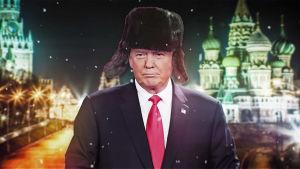 Kuvamanipulaatiossa Trump Venäjällä karvalakki päässä.