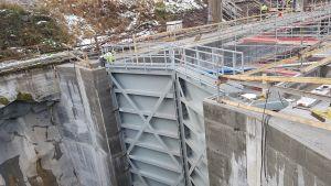Kimolan kanavan sulku rakennusvaiheessa