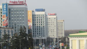 Den sovjetiska arkitekturen står hög i Minsk.
