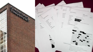 Collage, till vänster bild på tingshuset i Helsingfors. På höger sida en bunt papper, med diskrimineringsdomar.