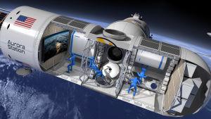 Piirroskuva: läpileikkaus Aurora Station -nimisestä avaruushotellista.
