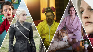 Bilder på huvudpersonerna i tv-serierna Fleabag, Game of Thrones, Breaking Bad, The Crown och Handmaids Tale.