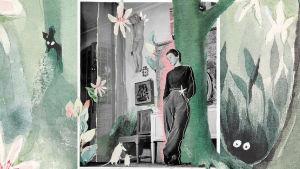 Collage med Tove Jansson och bokens pärm.