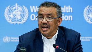 Tedros Adhanom Ghebreyesus, generaldirektören för WHO, under onsdagens presskonferens i Genève.