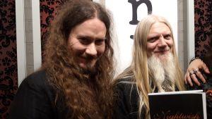 Nightwishin Tuomas Holopainen ja Marco Hietala uuden levyn esittelytilaisuudessa Helsingissä.