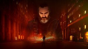 Elokuvan You Were Never Really Here julistekuva, ilman tekstejä. Joaquin Phoenix suurennettuna öistä kaupunkimaisemaa vasten.