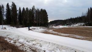 Jyväskylän Laajavuoressa lunta ei latupohjien ympärillä juurikaan ole.