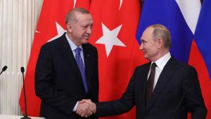 Turkiets president Recep Tayyip Erdoğan och hans ryske kollega Vladimir Putin såg nöjda ut efter sin gemensamma presskonferens i Kreml på torsdagen.