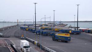 Långtradare i en hamn, i bakgrunden ett fartyg.