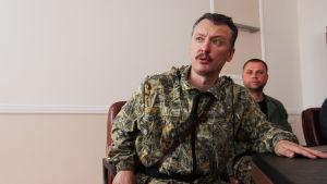 """Igor """"Strelkov"""" Girkin under en presskonferens i östra Ukraina i juli 2017."""