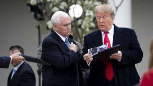 President Donald Trump tillsammans med vicepresident Mike Pence inför tisdagens presskonferens som hölls på gräsmattan utanför Vita huset.