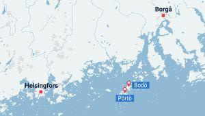 karta över Pörtö och Bodö