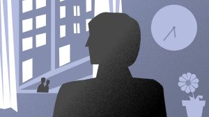 grafisk bild av person som väntar vid fönster