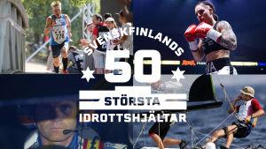 Svenskfinlands 50 största idrottshjältar-bild med Mårten Boström, Marcus Grönholm, Eva Wahlström och Thomas Johanson.