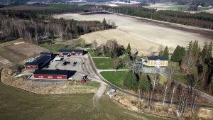 En vy från luften över Malmgård i Sjundeå, med gult karaktärshus och röda arbetsbyggnader.