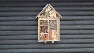 Hyönteishotelli kiinnitettynä parvekkeen seinään.