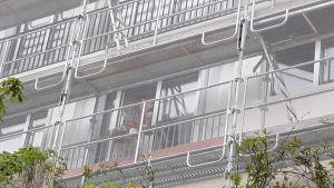 Pensionärerna Jacqueline Minoret och Alain Jacquet vinkar bakom presseningen som gör att de inte vill öppna fönstret.