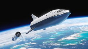Starshipin aiempi versio nousemassa avaruuteen SpaceX:n kuvassa. Super Heavy on juuri päättänyt työnsä ja Starship jatkaa tästä kiertoradalle.