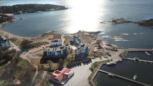 Flygbild av Fabriksudden i Hangö.