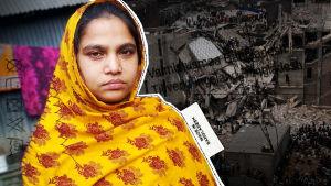 Bangladeshiläinen tehdastyöläinen Beauty ja Rana Plazan rauniot.
