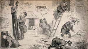 Tidningsillustration från London 1932 där hälsovårdsinspektörer söker efter spår av kolera