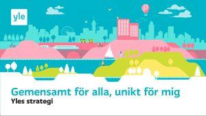 Delningsbilden för Yles strategi. Ett illustrerat landskap, under det följande text på sveska: Gemensamt för alla, unikt för mig. Yles strategi.