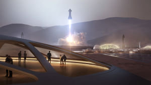 Grafisk återgivning av hur en koloni på planeten Mars kan se ut.