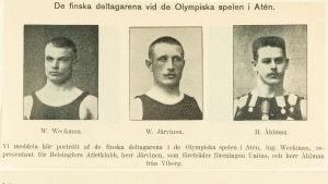 Verner Weckman, Verner Järvinen och Henrik Åhlman, Finlands deltagare i OS 1906.