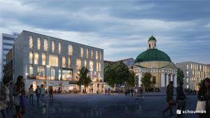 Vision över Åbo salutorgs framtida utseende med vita, rektangulära byggnader med många fönster och människor som går omkring på öppna ytor.